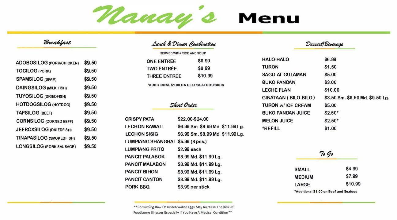 Nanays Food Menu